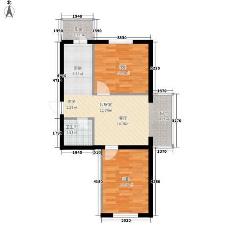 滨江凤凰城2室0厅1卫0厨55.00㎡户型图