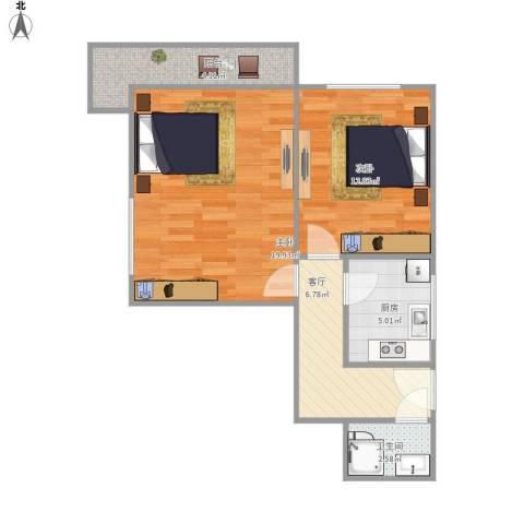 卫生部小区2室1厅1卫1厨55.00㎡户型图