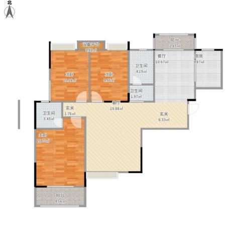 奥山星城3室1厅3卫1厨132.00㎡户型图