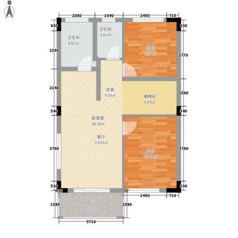 流溪河山庄2室0厅2卫0厨92.00㎡户型图