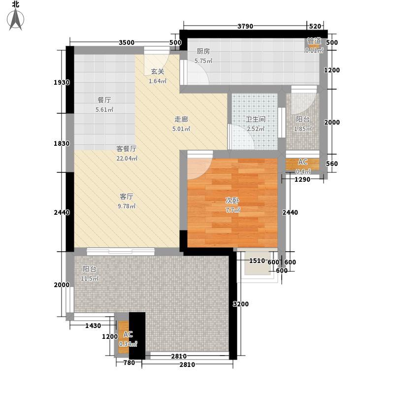 泽科港城国际52.20㎡二期4/5栋标准层A户型