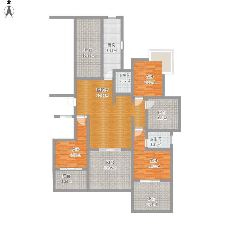 山水印象A5176.11方三室二厅二卫