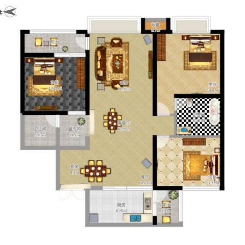 西双十贰城3室1厅2卫1厨166.00㎡户型图
