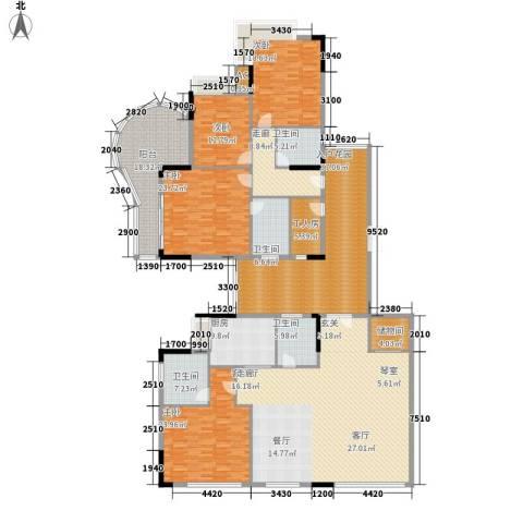 珊瑚大厦4室1厅4卫1厨285.00㎡户型图