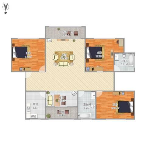 公园30003室1厅2卫1厨190.00㎡户型图