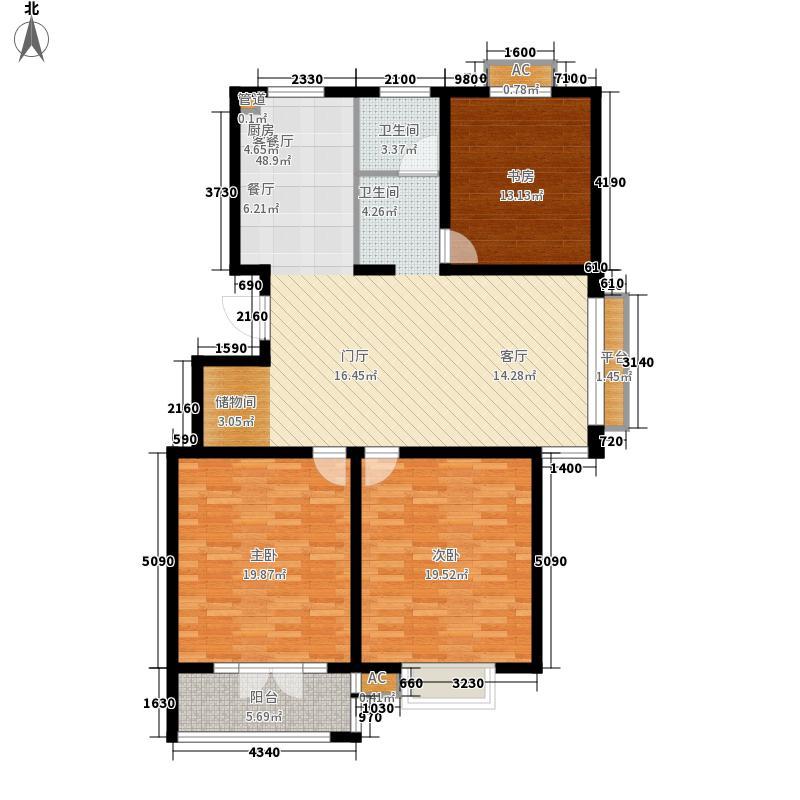 华夏太阳城125.28㎡华夏太阳城户型图D3室2厅1卫户型3室2厅1卫