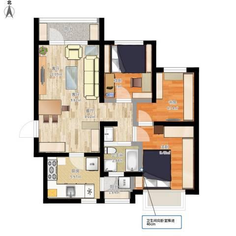 hdxfjy3室1厅1卫1厨89.00㎡户型图