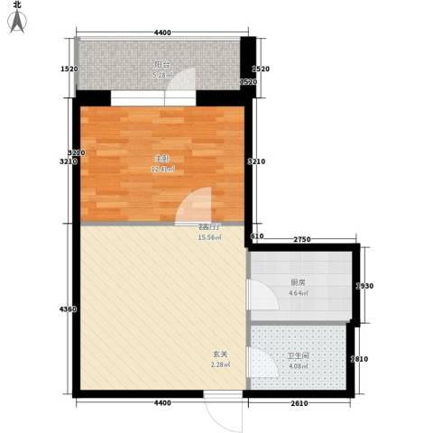 爱琴花园1室1厅1卫1厨50.00㎡户型图