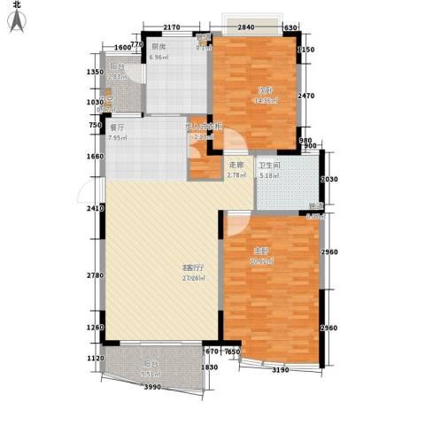 嘉禾现代城2室1厅1卫1厨108.00㎡户型图