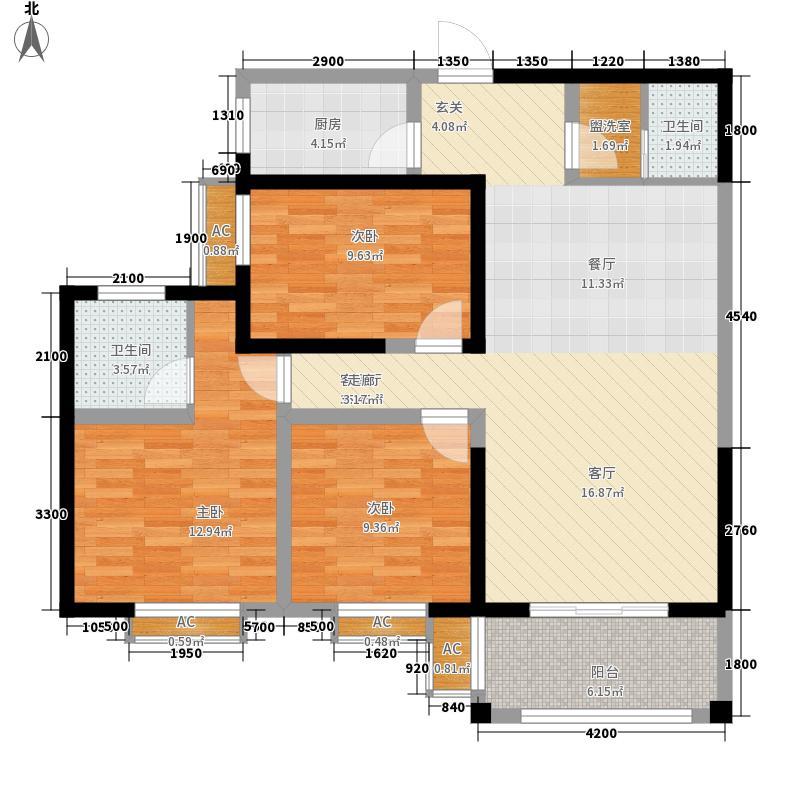 质检局家属院B户型:三房两厅一卫,122.47平米_调整大小户型3室2厅1卫1厨