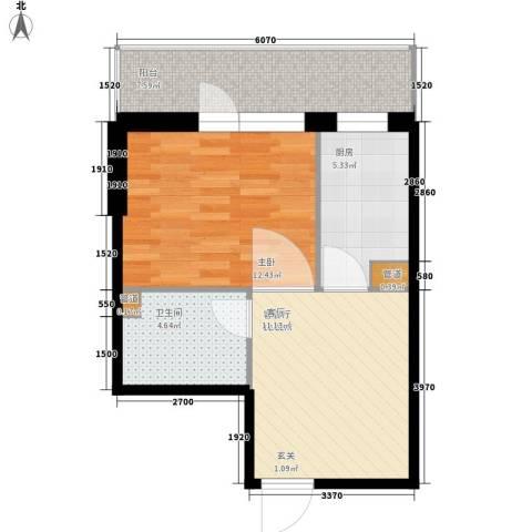 爱琴花园1室1厅1卫1厨51.00㎡户型图