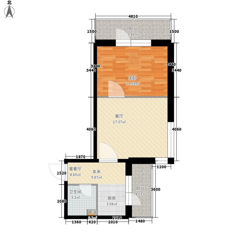 爱琴花园65.05㎡爱琴花园户型图6号门户型1室1厅1卫1厨户型1室1厅1卫1厨