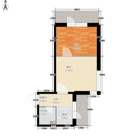 爱琴花园1室2厅1卫0厨65.00㎡户型图