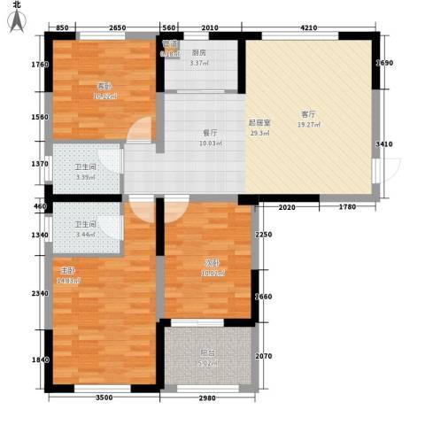 纳爱斯阳光锦城3室0厅2卫1厨114.00㎡户型图