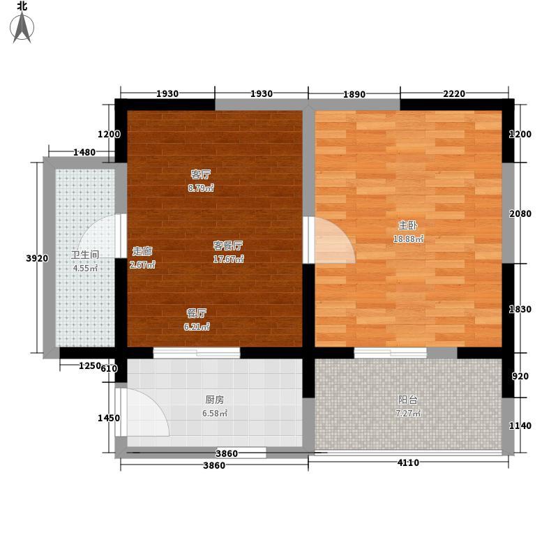 中威国际公寓63.00㎡F户型1室2厅1卫