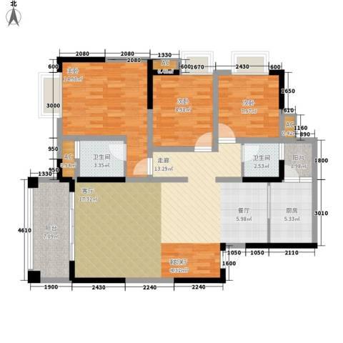锦林俊域3室1厅2卫1厨117.00㎡户型图