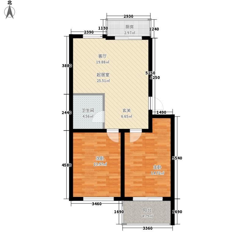 亿迈合家园75.00㎡亿迈合家园户型图Y户型2室2厅1卫1厨户型2室2厅1卫1厨