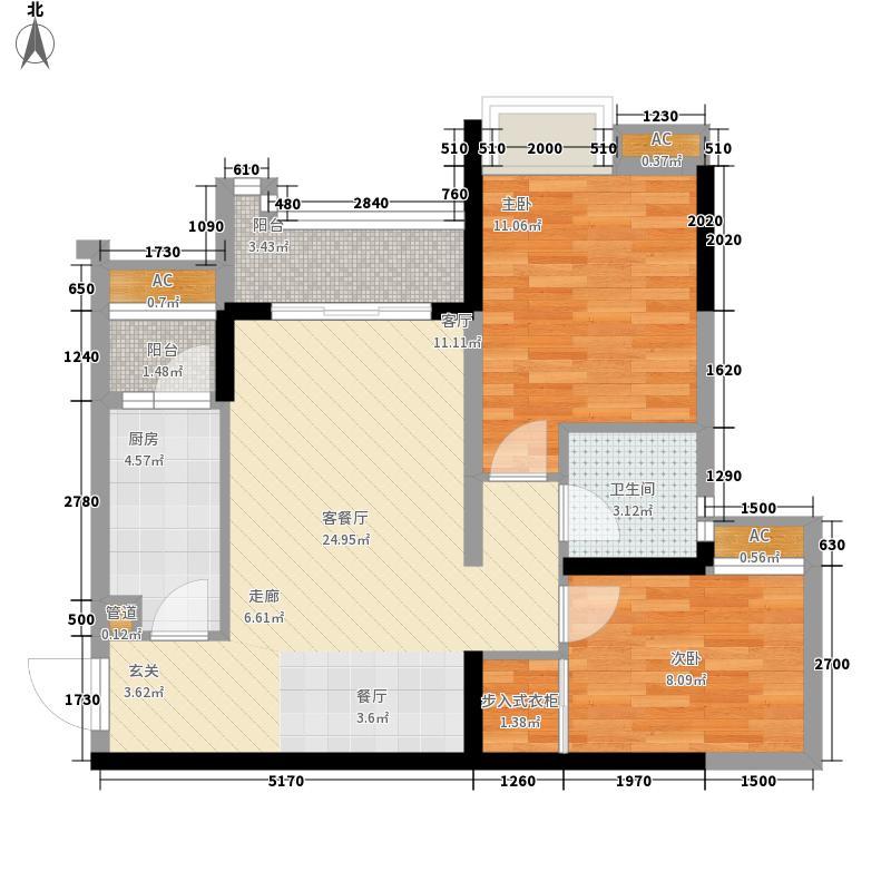 泽科港城国际一期7、8号楼3、4号房户型2室2厅
