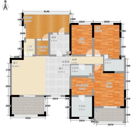 中环岛3室0厅3卫1厨166.29㎡户型图