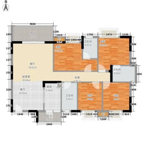 中堂东港城4室0厅3卫1厨129.00㎡户型图