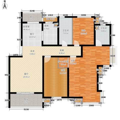 万枫家园3室0厅2卫1厨180.00㎡户型图
