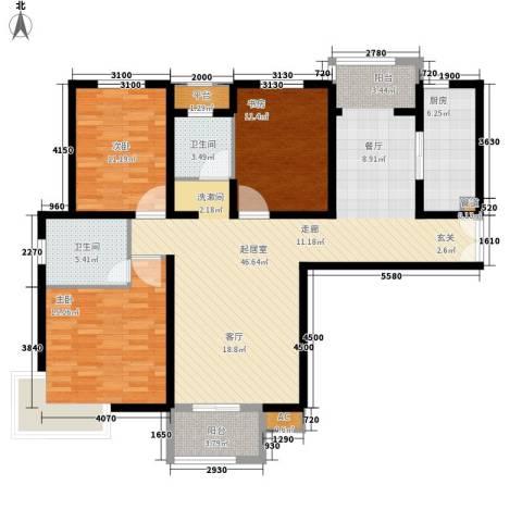 中堂东港城3室0厅2卫1厨120.00㎡户型图