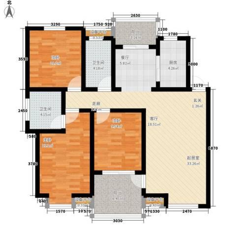 万枫家园3室0厅2卫1厨106.00㎡户型图