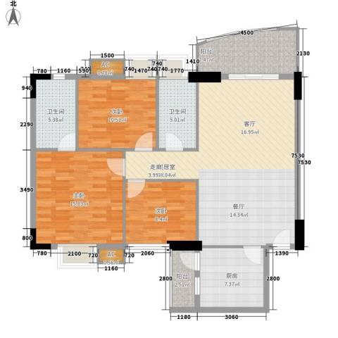 东田翠湖湾3室0厅2卫1厨220.00㎡户型图