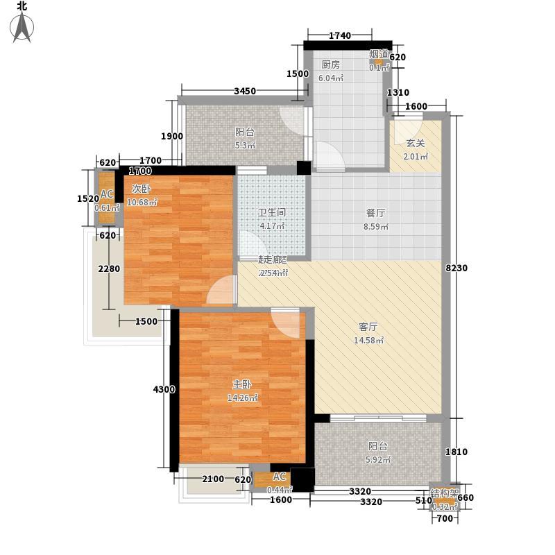 翡翠绿洲92.00㎡T102单元户型2室2厅