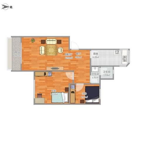 比华利山庄2室1厅2卫1厨74.00㎡户型图