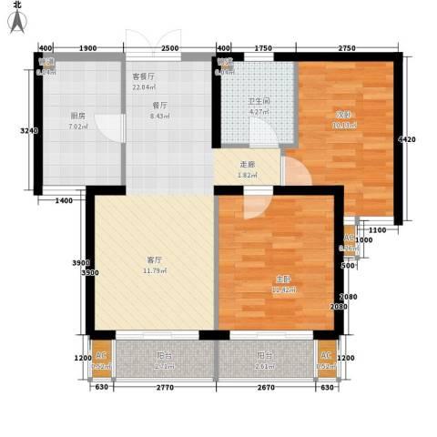 牡丹园丙28号院2室1厅1卫1厨89.00㎡户型图
