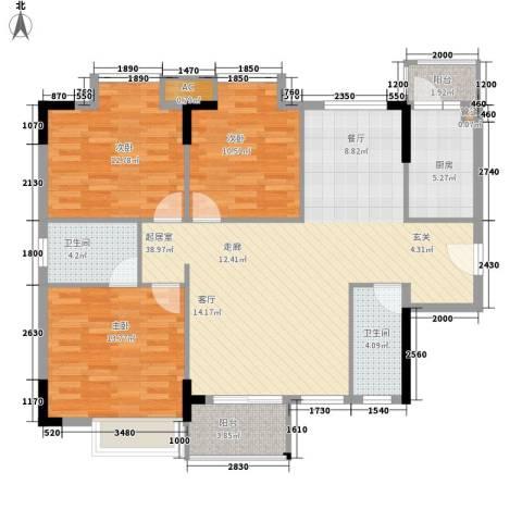 中堂东港城3室0厅2卫1厨110.00㎡户型图