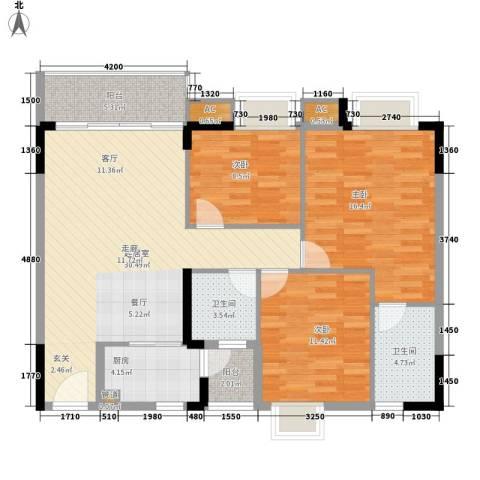 中堂东港城3室0厅2卫1厨105.00㎡户型图
