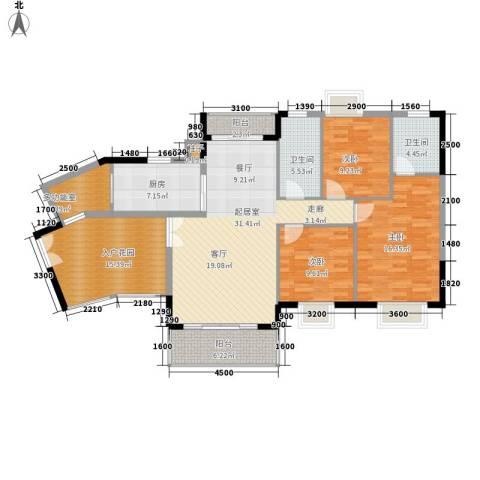 帝京华府3室0厅2卫1厨157.00㎡户型图