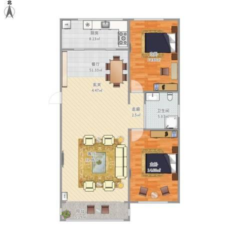 金汇家园2室1厅1卫1厨125.00㎡户型图