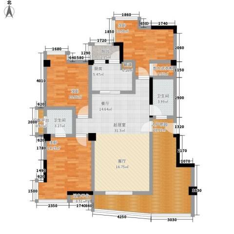 玉山苑3室0厅2卫1厨155.00㎡户型图