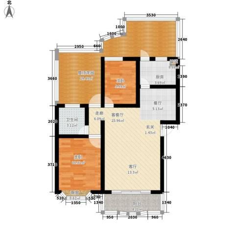 锦泰家园2室1厅1卫1厨86.00㎡户型图