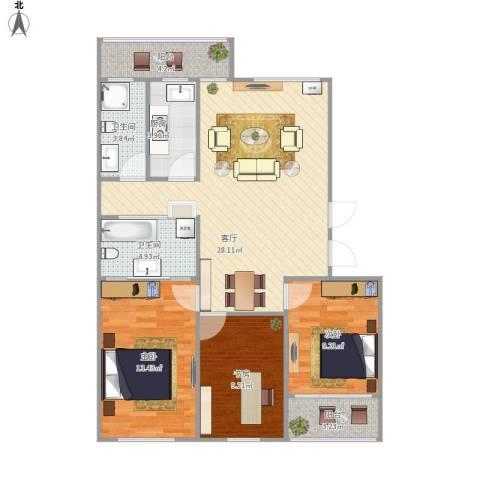 朗诗国际街区(跃层)3室1厅2卫1厨109.00㎡户型图