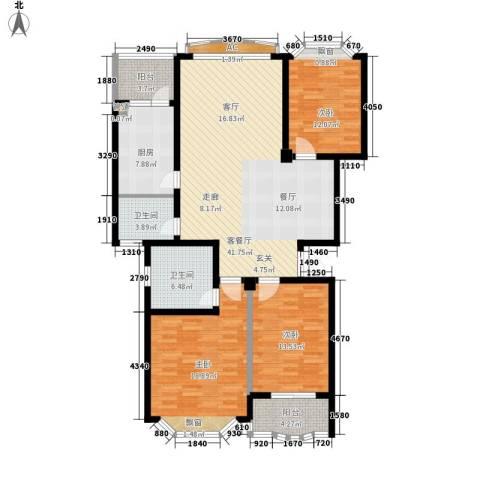 锦泰家园3室1厅2卫1厨130.00㎡户型图