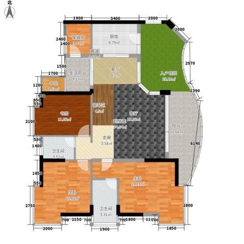 海棠晓月・怡景天域(二期)3室0厅2卫1厨131.55㎡户型图