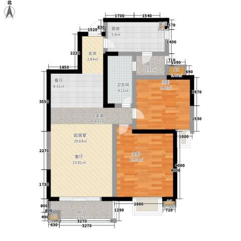 和谐家园2室0厅1卫1厨88.00㎡户型图