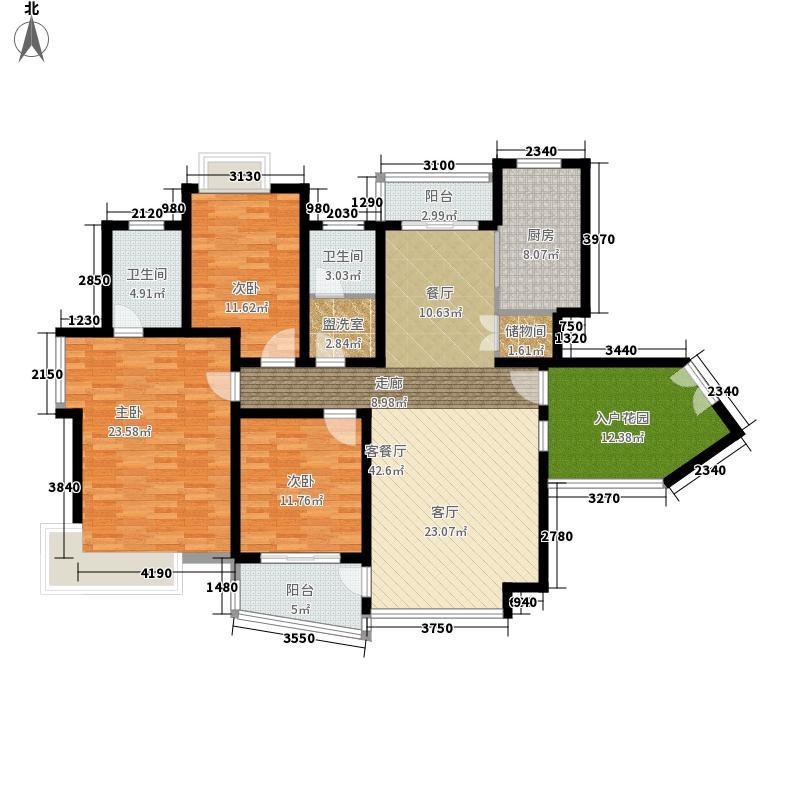 新时代富嘉花园148.92㎡H型户型3室2厅2卫1厨
