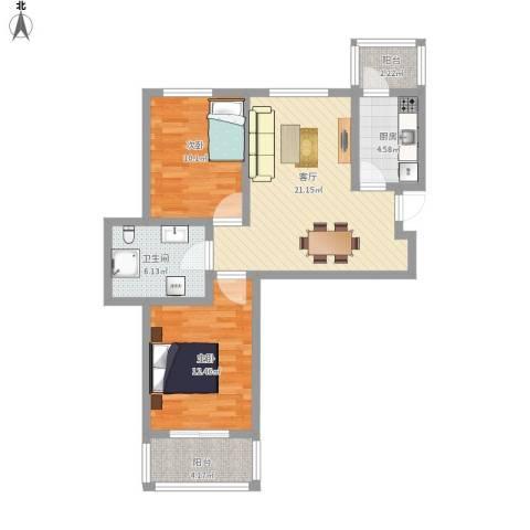 太铁佳苑2室1厅1卫1厨89.00㎡户型图