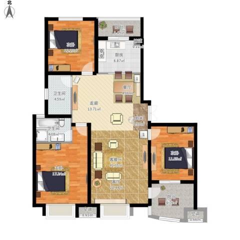 清流水韵3室1厅2卫1厨156.00㎡户型图