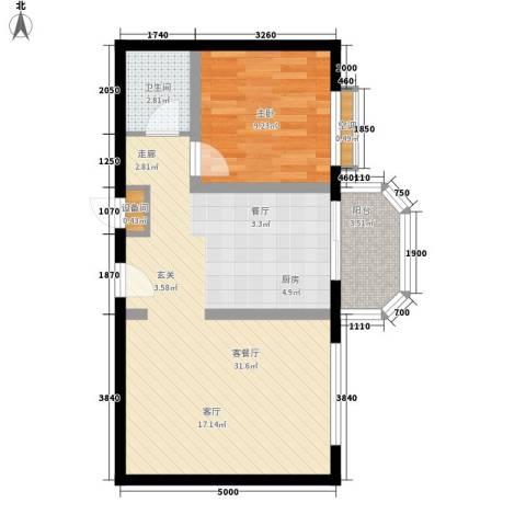 宏盛家园西区1室1厅1卫0厨59.00㎡户型图