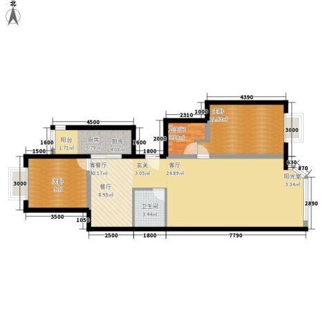 宏盛家园西区2室1厅2卫1厨98.00㎡户型图