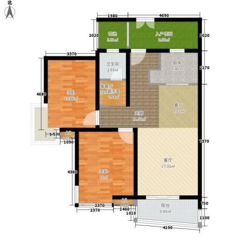 新时代富嘉花园2室1厅1卫1厨108.20㎡户型图