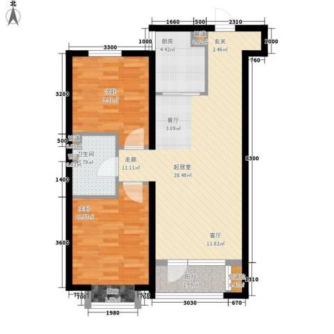 未名山II期2室0厅1卫1厨89.00㎡户型图