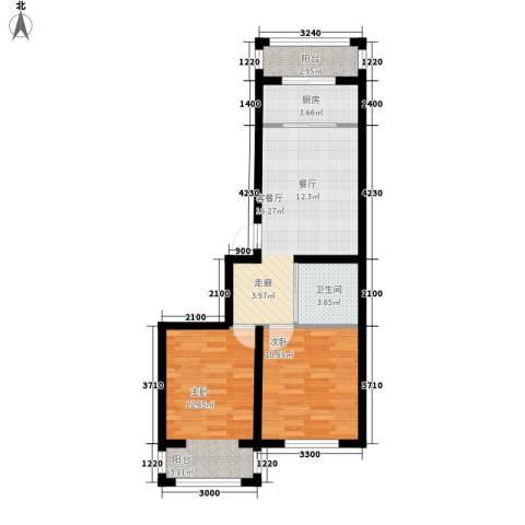 隆达丽景世纪城2室1厅1卫1厨74.00㎡户型图