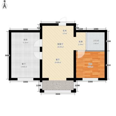 隆达丽景世纪城1室2厅1卫0厨63.00㎡户型图